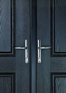 Black double door close up