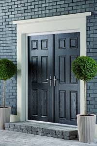 Black double doors