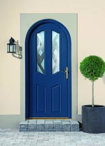 Curved blue door