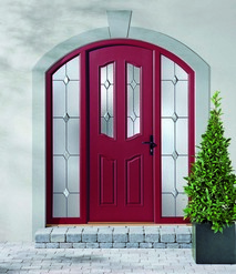 Curved red door