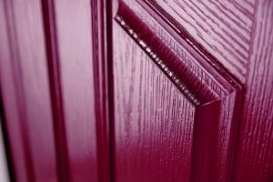 Red doorskin close up